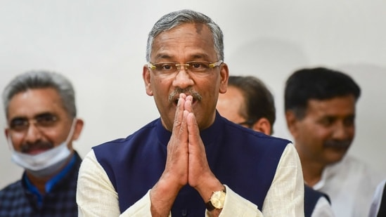 Dehradun: Uttarakhand chief minister Trivendra Singh Rawat arrives to address a press conference after tendering his resignation in Dehradun on Tuesday.(PTI)