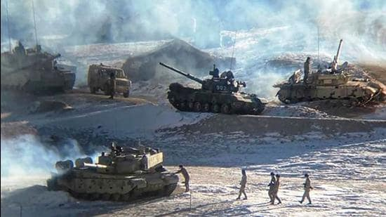 (A file photo released by the Indian Army on February 16, 2021 shows PLA soldiers and tanks during military disengagement along the Line of Actual Control (LAC) in Ladakh. (AFP)