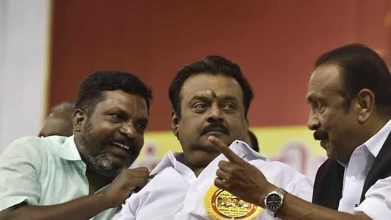 Actor-turned-politician Vijayakanth-led DMDK quits AIADMK-BJP alliance after differences over allocation of seats for Tamil Nadu polls(PTI FILE PHOTO)