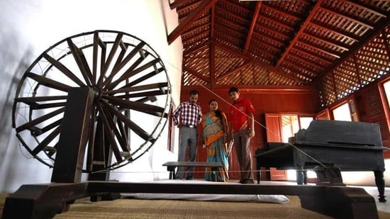 Chief principal secretary to the CM, K Kailashnathan, respectively, to oversee the re-development of the iconic Sabarmati Ashram and its precincts.(AP/Ajit Solanki)