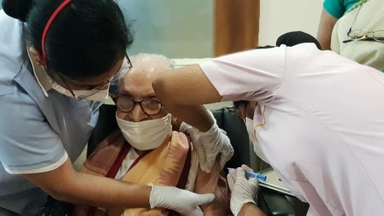 Kameshwari J is the oldest woman in India to have been vaccinated, according to available data.(ANI)