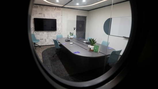 A view of a meeting room outfitted with airtight glass panels at short-stay facility Connect@Changi, a complex of hotel rooms and meeting halls near the airport in Singapore.(REUTERS)