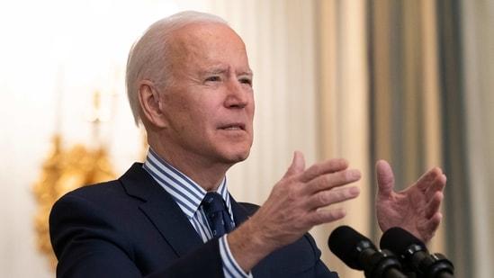 US President Joe Biden speaks in the State Dining Room of the White House in Washington.(AP)