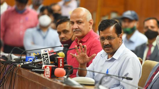 New Delhi CM Arvind Kejriwal interacts with the media in the presence of deputy CM Manish Sisodia, in New on Tuesday, March 9. (Raj K Raj/HT photo)