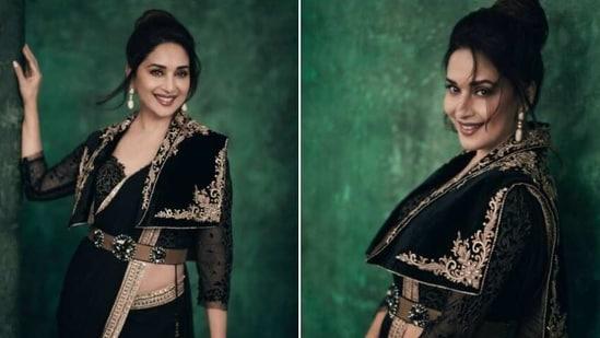Madhuri Dixit in black georgette saree(Instagram/ madhuridixitnene)