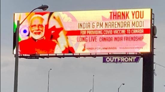 A billboard in the Greater Toronto Area that carries a message thanking India and Prime Minister Narendra Modi for sending across Covid-19 vaccines to Canada. (Supplied photo)