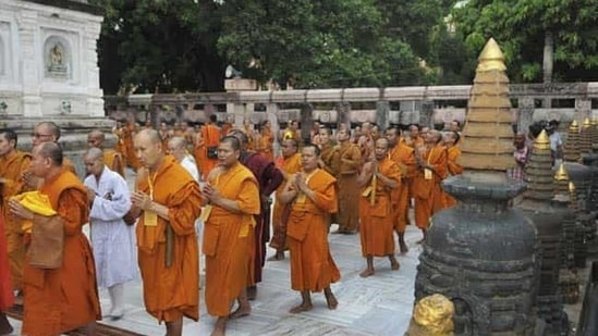 Foreign tourists from Buddhist countries throng Bodh Gaya.