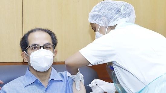 Maharashtra chief minister Uddhav Thacekray receving the Covaxin shot at Mumbai hospital on Thursday.(ANI Photo)