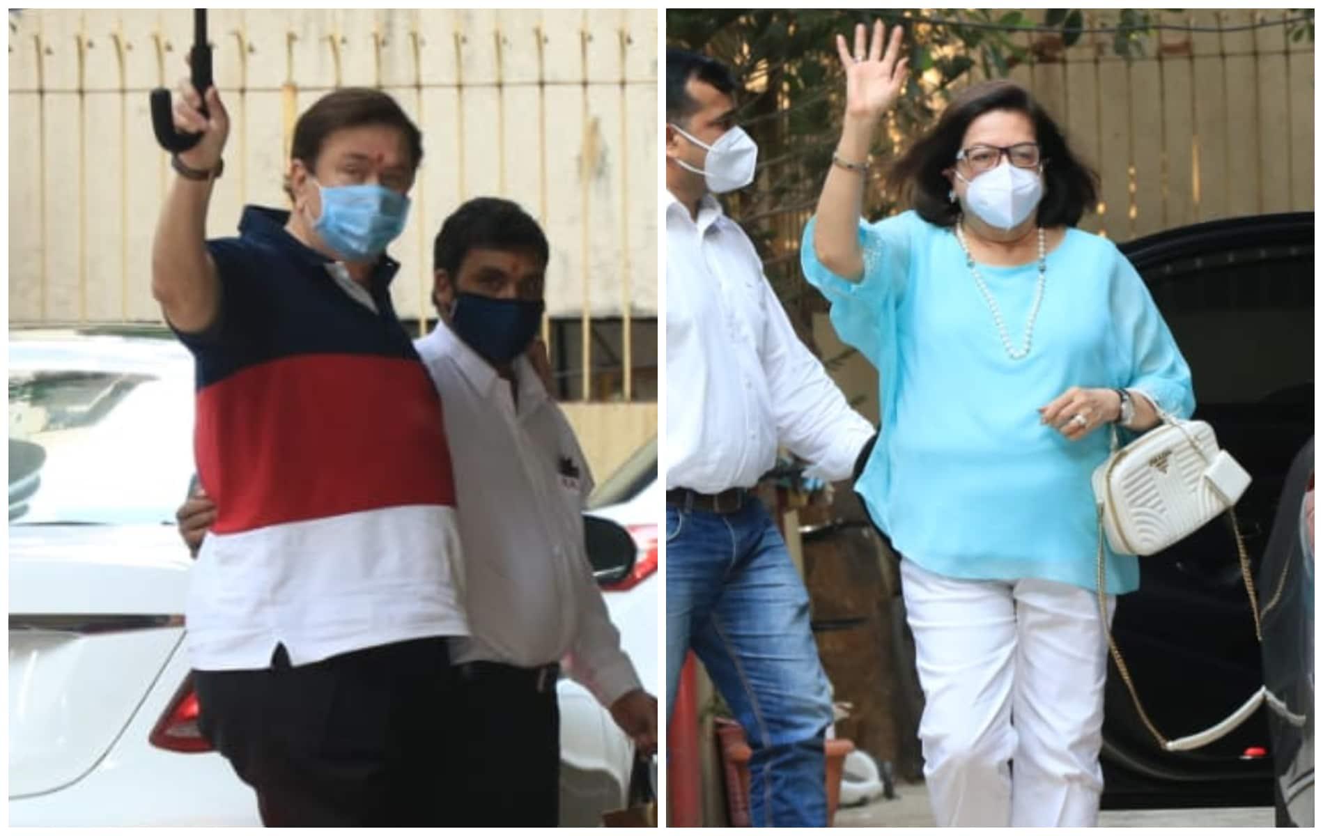 Randhir Kapoor and Babita Kapoor arrive at Karisma Kapoors residence.(Varinder Chawla)