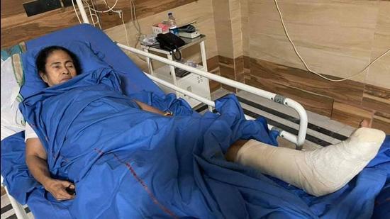 West Bengal chief minister Mamata Banerjee at Kolkata's SSKM hospital on March 11. (PTI)