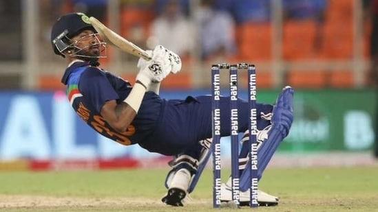 Hardik Pandya plays a ramp shot off Ben Stokes in India vs England 1st T20I(ICC/Twitter)