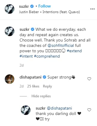 Disha Patanis comment on the video(Instagram/ suzkr )