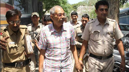 Kobad Ghandy comes out the district court, Patiala, May 27, 2016 (HT PHOTO)