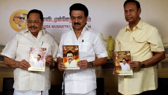 DMK president MK Stalin along with DMK general secretary S Durai Murugan releases election manifesto in Chennai on Saturday. (ANI Photo )