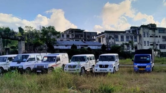 Government vehicles seized by student organisations in Kohima on Monday for violating the ban in Nagaland.(HT PHOTO.)
