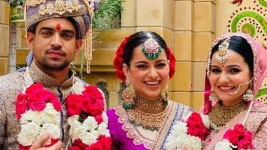 Kangana Ranaut shared fresh pictures after her brother Aksht's wedding.