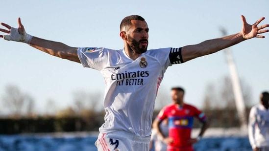 Karim Benzema celebrates his goal. (Real Madrid/Twitter)