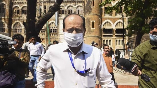 Assistant police inspector Sachin Vaze outside the Police Commissioner's office in Mumbai earlier this week. (PTI PHOTO).