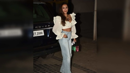 Malaika is the queen of accessorising ensembles and for last night's look she picked a pair of heels and added a pop of colour with a top handle bag. That was not all, her statement necklace also brought some oomph to the outfit.(Varinder Chawla)