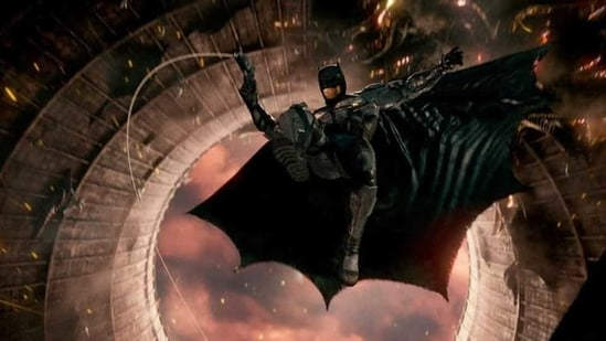 Ben Affleck's Batman in a still from Justice League.