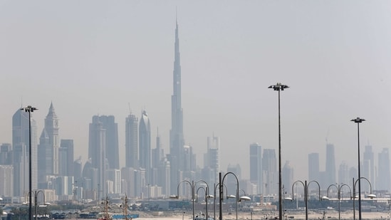 The skyline is seen with the Burj Khalifa as ships dock at Port Rashid.(REUTERS / File)