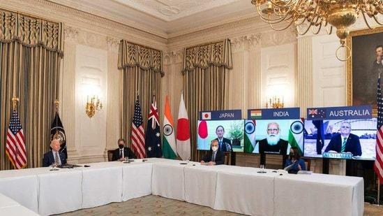 US President Joe Biden attends the first Quad Summit virtually with Prime Minister Narendra Modi, Japanese PM Yoshihide Suga and Australian PM Scott Morrison, in Washington DC on Friday.(Twitter/White House)