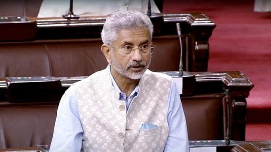 External Affairs Minister Dr. S Jaishankar in the Rajya Sabha on Monday. (ANI)
