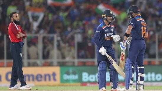 India Ishan Kishan with Virat Kohli.(AP)