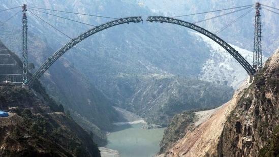 Chenab Bridge, set to be world's highest Railway bridge, under construction.(Twitter/@PiyushGoyal)