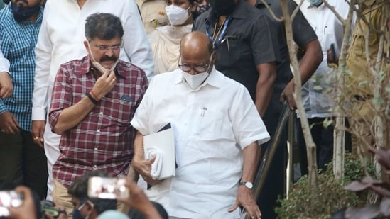 Earlier on Monday, Pawar met Thackeray at the latter's official residence 'Varsha'. In picture - Sharad Pawar leaves after the meeting.(PTI)