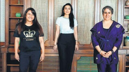 (From left) Rohini Iyer, Preity G Zinta and Guneet Monga