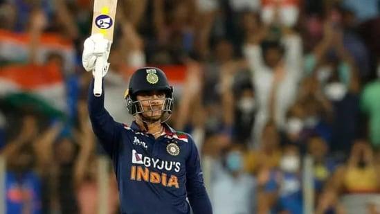 Ishan Kishan celebrating his maiden T20I fifty(BCCI)