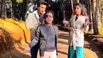 Shilpa Shetty, Rajpal Yadav and Meezaan on the sets of Hungama 2.