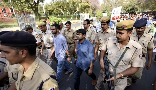 JNU students Kanhaiya Kumar and Umar Khalid lead a protest march in this file photo from 2016. (Arun Sharma/HT Archive)