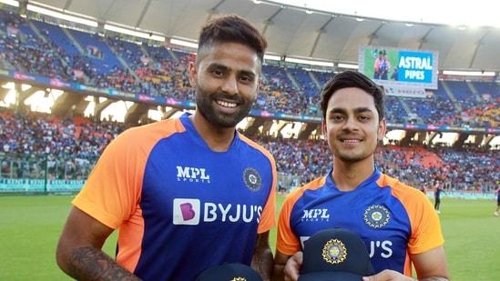 India's Suryakumar Yadav and Ishan Kishan pose.(BCCI)