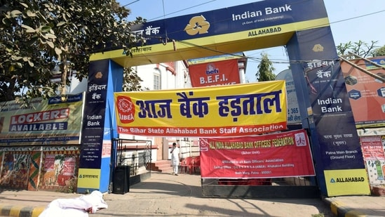 A view of closed Indian Bank during the Nation-Wide Bank Strike called by the United Forum of Bank Unions over various demands, in Patna on Monday. (ANI Photo)