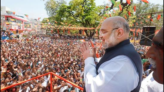 Union home minister and senior BJP leader Amit Shah at a roadshow in Nagercoil, Kanyakumari, earlier this month. (File photo)