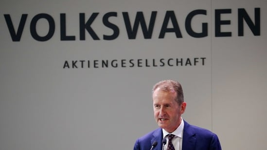 The amount of market value added in March is well over half the total capitalization of Diess's former employer, BMW AG, which set a goal Wednesday for roughly half of total sales to be all-electric by the end of the decade.(REUTERS)