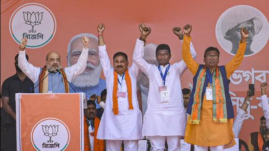 Union home minister and BJP leader Amit Shah addresses an election campaign rally, ahead of West Bengal assembly polls, in Bankura. (PTI)