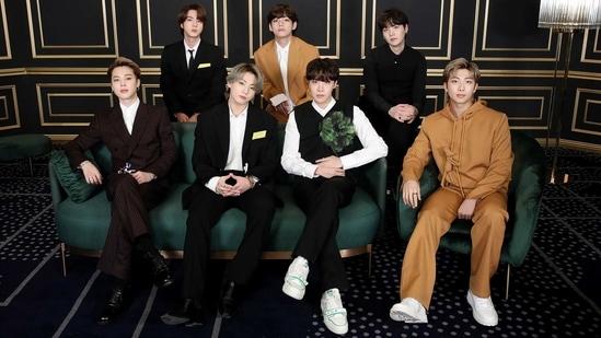 BTS members RM, Jin, Suga, J-Hope, Jimin, V and Jungkook at the Grammys 2021. (Big Hit Entertainment)