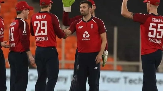 England pacer Mark Wood picked up three wickets in the 3rd T20I against India at Narendra Modi Stadium on Tuesday(BCCI)