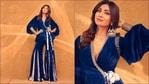 Shilpa Shetty in blue velvet peplum jacket-pants is fashion treat for sore eyes(Instagram/theshilpashetty)