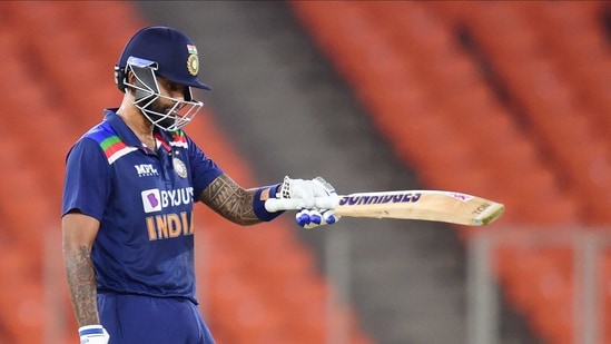 Ahmedabad: Indian batsman Suryakumar Yadav (L) celebrates his half century during the fourth Twenty20 match between India and England, at Narendra Modi Stadium in Ahmedabad, Thursday, March 18, 2021.(PTI)