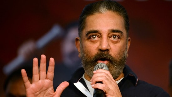 Indian actor turned politician Kamal Haasan, founder of Makkal Needhi Maiam (MNM), a regional political party, attends a media briefing ahead of the Tamil Nadu state legislative assembly elections in Chennai on February 27, 2021. (Photo by Arun SANKAR / AFP)(AFP)