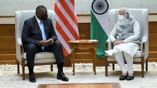 PM Modi with US defence secretary Austin Lloyd(@narendramodi/Twitter )