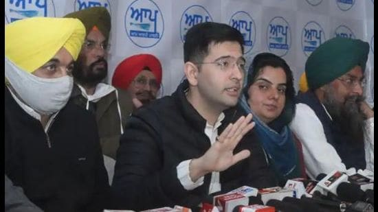 A file photo of Aam Aadmi Party's Punjab co-incharge Raghav Chadha addressing the media.