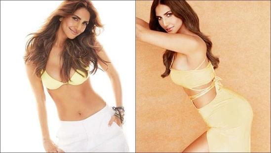Vaani Kapoor goes bold in lemon bikini top, serves steamy look in gold top-skirt(Instagram/_vaanikapoor_/mohitrai)