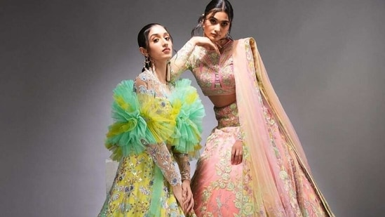 Models wearing pieces from Suneet Varma's newest collection.(Instagram)