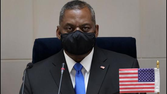 File photo: US secretary of defence Lloyd Austin during a news conference at Vigyan Bhawan in New Delhi on Saturday.(Bloomberg)