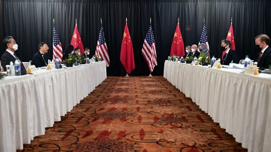 Secretary of State Antony Blinken, second from right, joined by national security adviser Jake Sullivan, right, speaks while facing Chinese Communist Party foreign affairs chief Yang Jiechi, second from left, and China's State Councilor Wang Yi, left, at the opening session of US-China talks at the Captain Cook Hotel in Anchorage, Alaska.(AP)